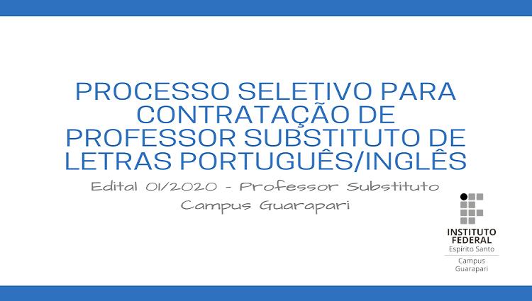 Edital 01/2020 - Professor Substituto - Campus Guarapari